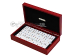 Double 6 Swarovski Colored Crystal Dominoes Set - Red Croco Case