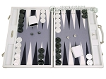 Hector Saxe Carbon Linen/Felt Backgammon Set - White