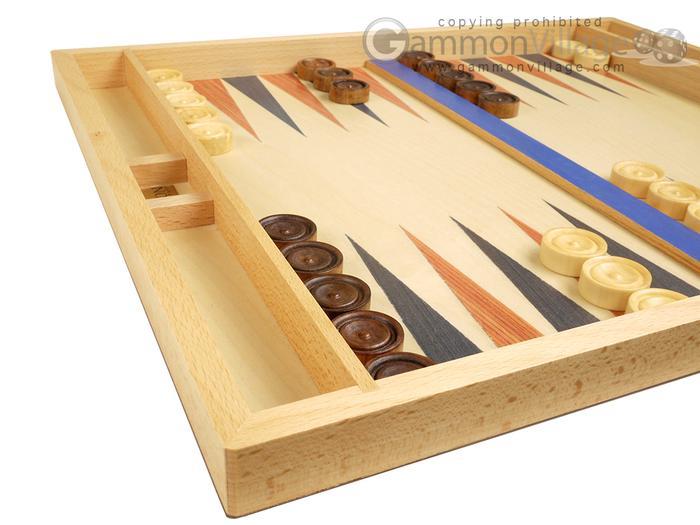 "19/"" Large Wooden Backgammon Blue Non Folding Game Board Set"